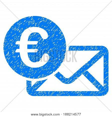 Grunge Euro Message icon with grunge design and dirty texture. Unclean vector blue pictogram for rubber seal stamp imitations and watermarks. Draft emblem symbol.