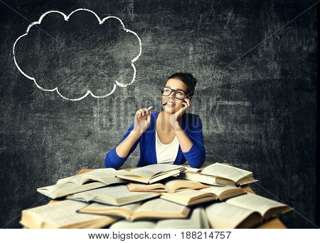 Books and Thinking Woman Student Girl Reading Studying Book Bubble Idea on Blackboard