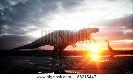 Dinosaur. Prehistoric period, rocky landscape. Wonderfull sunrise 3d rendering