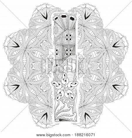 Hand-painted art design. Adult anti-stress coloring page. Black and white hand drawn illustration mandala with letter I for coloring book