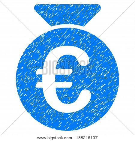 Grunge Euro Money Bag icon with grunge design and dirty texture. Unclean vector blue pictogram for rubber seal stamp imitations and watermarks. Draft sign symbol.