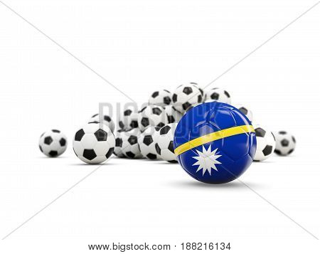 Football With Flag Of Nauru Isolated On White