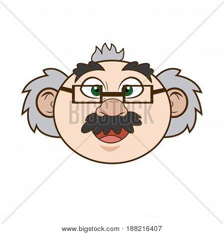 cartoon scientist professor portrait teacher vector illustration