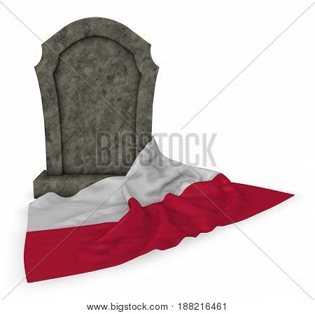 gravestone and flag of poland - 3d rendering