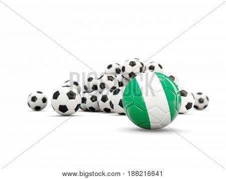 Football With Flag Of Nigeria Isolated On White