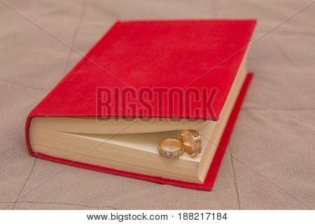 wedding rings in the Red Book close up