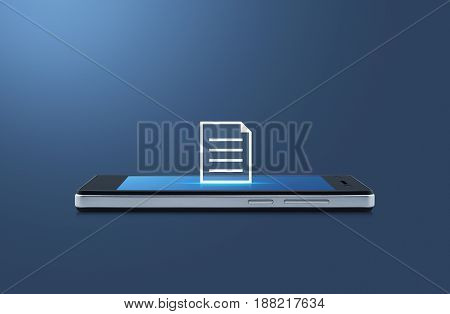Document icon on modern smart phone screen over gradient blue background Business communication concept