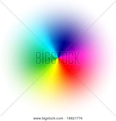 Smooth color wheel with white background
