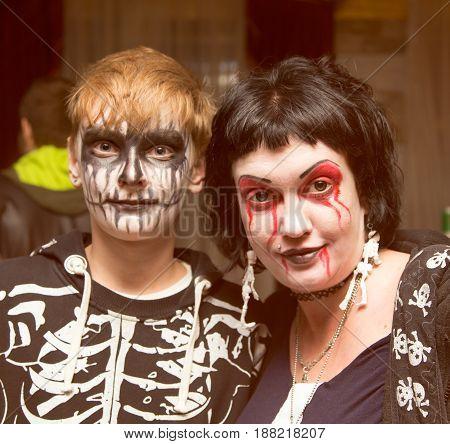 Shymkent, KAZAKHSTAN - OCTOBER 31 , 2015: People in makeup on Halloween holiday October 31, 2015 in Shymkent