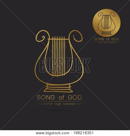 Modern linear thin flat design. The stylized image of lyre logo. classic music festival logo Template for covers logo posters invitationsModern art thin line of the classical lyre icon