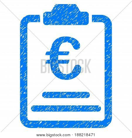 Grunge Euro Prices icon with grunge design and dirty texture. Unclean vector blue pictogram for rubber seal stamp imitations and watermarks. Draft emblem symbol.