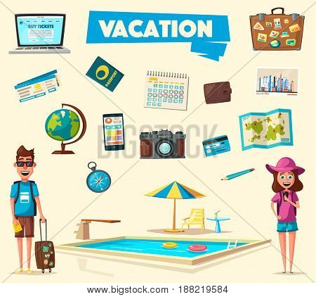 Happy family in travel. Journey of people. Cartoon vector illustration. Character design on travelers. Family having summer holidays trip. Travelling together