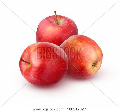 Three red glossy Apple isolated on white background. A bunch of fruit.
