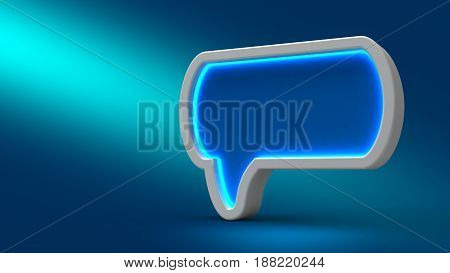 Glowing Neon Speech Bubble On Blue Background, 3D Illustration. Set For Design Presentations