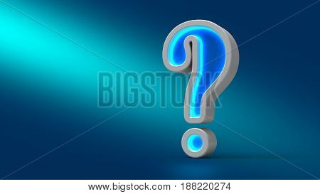 Glowing Neon Big Question Mark On The Table, On Blue Background, 3D Illustration.