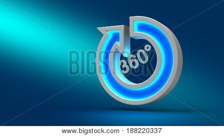 Glowing Neon Big 360 Degree Arrow On The Table, On Blue Background,