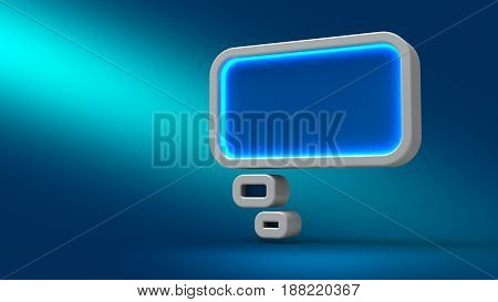 Glowing Neon Bubble Cloud On Blue Background, 3D Illustration.