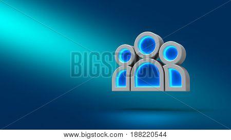 Team People On Blue Background. 3D Illustration. Set For Design Presentations.