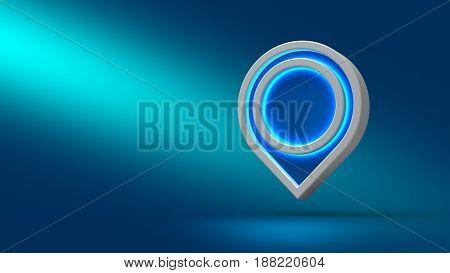 Pointer On Blue Background. 3D Illustration. Set For Design Presentations.