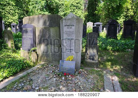 Prague Czech Republic-May 23 2017: Grave of famous writer Franz Kafka on new Jewish cementery