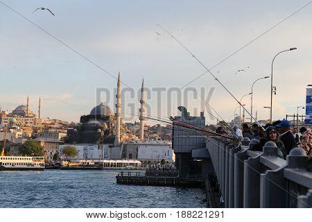 Galata Bridge In Istanbul, Turkey