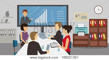 Business people web conference meeting in office. Corporate Table Discussion Video Conference  Concept Illustration Vector.