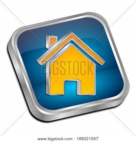blue orange Home Button - 3D illustration