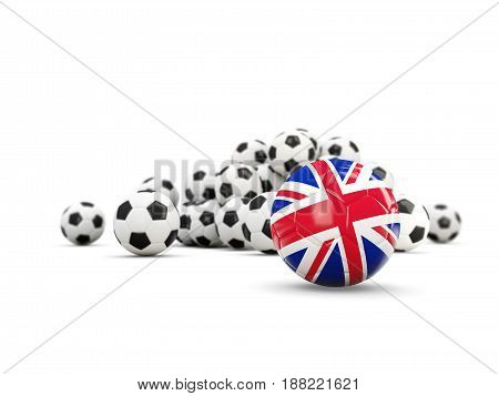 Football With Flag Of United Kingdom Isolated On White