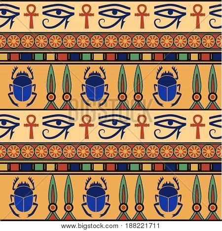 Egyptian ornament with scarabs. Set. Vector illustration