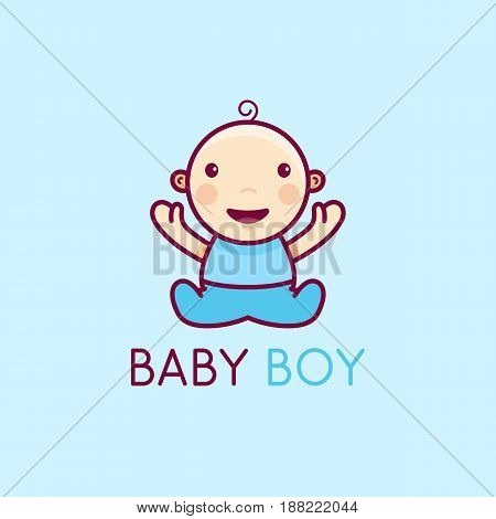Vector Logo Design Template In Cartoon Flat Linear Style - Little Smiling Baby Boy