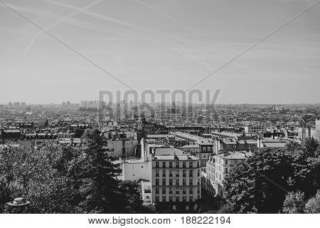 View from Montmartre in black and white