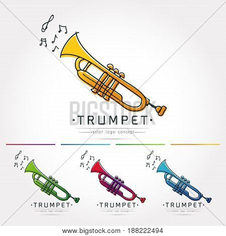 Modern linear thin flat design. The stylized image of trumpet. classical music festival logo Template for coverslogo posters invitations on white background Vector illustration