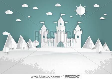 White paper castle Mountain landscape on pop up paper cut style Vector illustration