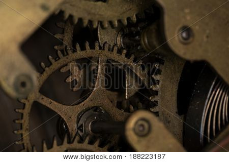 Gear modes in the machine close up macro photography. Small depth of field