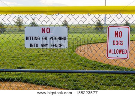 baseball diamond signs to prevent various things