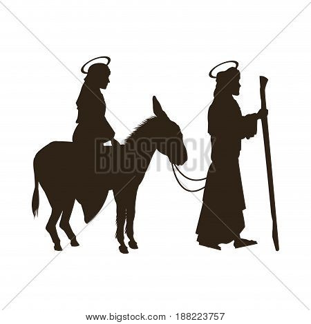silhouette joseph and virgin mary riding donkey holy image vector illustration