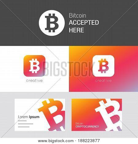 Bitcoin Vector Set. Useful As Brand Logo, App Icon Or Business Card.