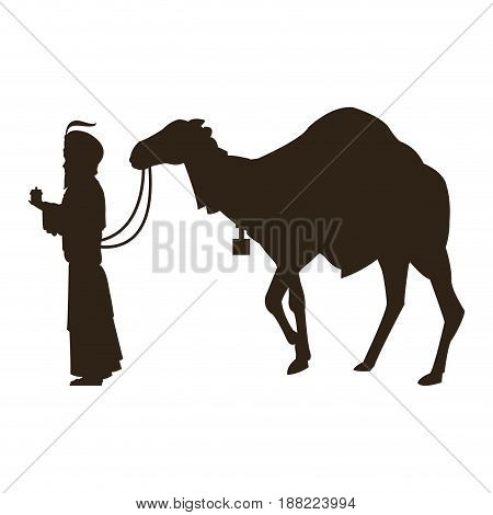 silhouette wise king and camel manger characters vector illustration