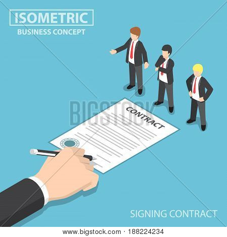 Isometric Hand Signing Contract In Front Of Ceo