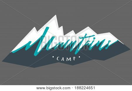 mountains logo. Vector logotype template. Hand drawn lettering
