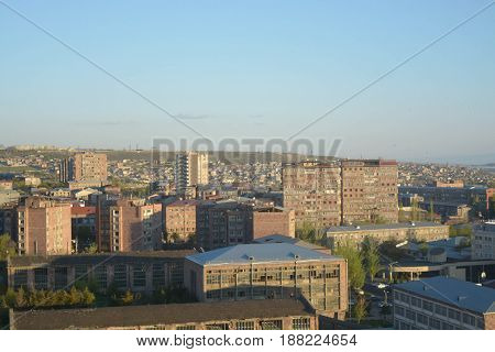 Panoramic city view of Yerevan in Armenia