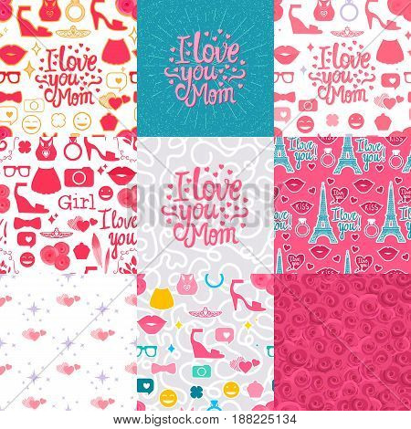 Set Vector I love you Mom. Lettering inscription congratulation on Mother's Day.  Female interests are symbols. Seamless pattern background.