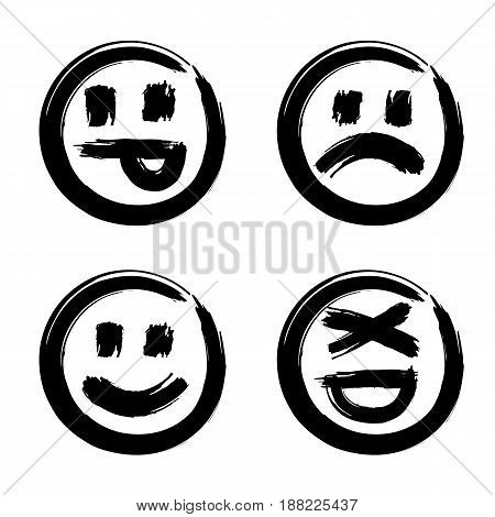 Hand drawn set of emoticons ink brush emoji smiley icon on a white background. Vector.