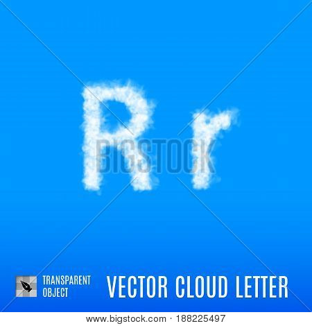 Clouds in Shape of the Letter R on Blue Background