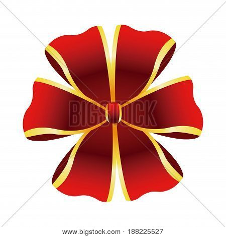 red bow golden border decoration christmas element vector illustration