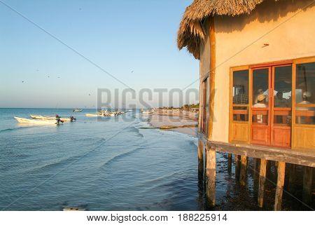 Holbox Mexico - 28 January 2009: Coast with the beach of Holbox Island Mexico