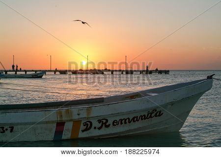 Holbox, Mexico - 28 January 2009: Sunset at the beach of Holbox Island Mexico