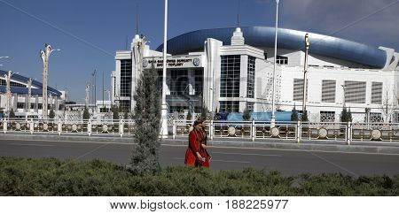 Ashgabat Turkmenistan - April 6 2017. Part of the sport complex. 5 th Asian Indoor Games and martial arts which will be held in Ashgabat (Turkmenistan) in 2017 from September 15 to 24.
