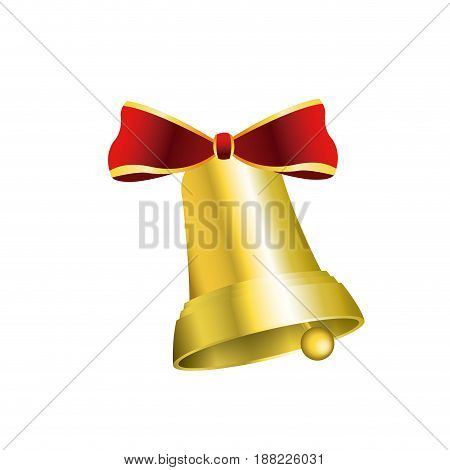 gold bell with red bow decoration christmas vector illustration