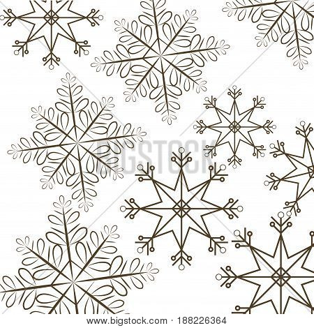 set snowflakes christmas differents icons vector illustration
